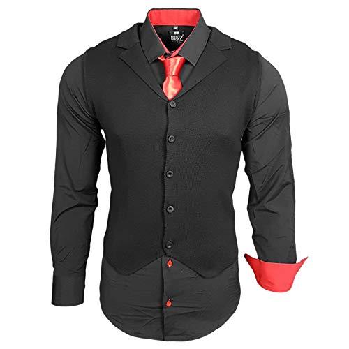 Rusty Neal Herren Hemd Weste Krawatte Set Hemden Business Hochzeit Freizeit Slim Fit, Größe:S, Farbe:Schwarz/Rot