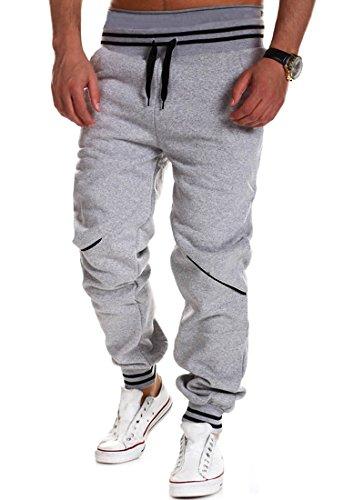 Minetom Uomo Casual Mode Pantaloni Cargo Jeans Jogging Sportivi Straigh Pantalone Polsino Tasche Laterale con Coulisse B Grigio