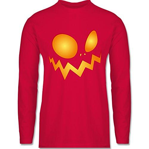 Halloween - Kürbisgesicht groß Pumpkin - Longsleeve / langärmeliges T-Shirt für Herren Rot