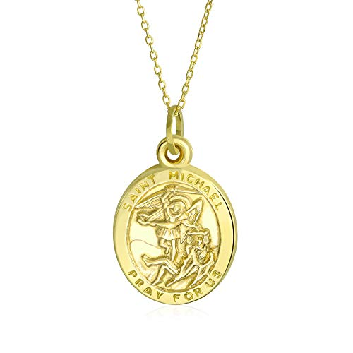 14K Gelb Gold Saint Michael Zum Schutz Religiösen Metall Anhänger 18 Cm Gelb Gold Halskette (St Michael-halskette Gold)