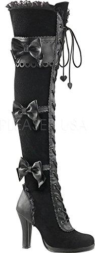 Demonia Glam-300, Bottines Classiques Femme Noir (Blk Vegan Leather-Velvet)