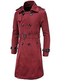 acda6311f067 WSLCN Classique Manteau Homme Blousons à Double Boutonnage Trench Coat  Longue Veste Militaire Slim Jacket avec