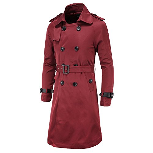 Elonglin Herren Herbst Winter lange Mantel mit Gürtel Trenchcoat Zweireiher Slim Fit Weinrot DE M (Asien - Lang Roter Trenchcoat Herren