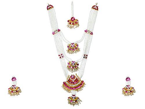 Mangal Sutra Set Kajol weiß - pink - gold Bollywood Schmuck Indien (Kostüm Indien Schmuck Sets)