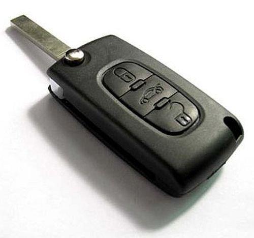 PeugeotKS03 - 1x Ersatz Schlüsselgehäuse - mit 3 Tasten und Batterieklemme Auto Schlüssel Funkschlüssel Gehäuse (Peugeot03)
