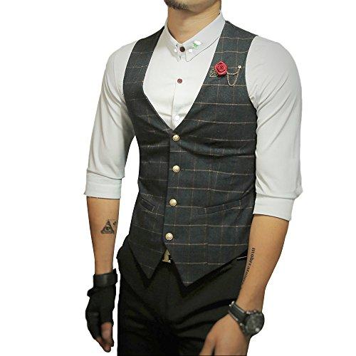 Herren Kariert 4 Knopf Anzugweste mit der Nadel Hochzeit Smoking