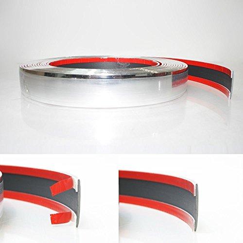 Preisvergleich Produktbild 25mm x 5 meter Chrom Zierleiste Leisten Chromleiste Selbstklebend Flexibel Kunststoff Tuning