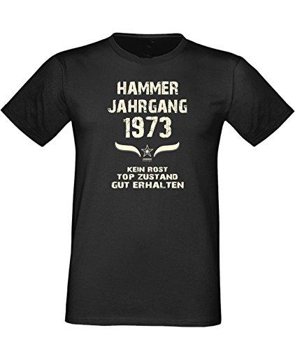 Sprüche Fun T-Shirt Jubiläums-Geschenk zum 44. Geburtstag Hammer Jahrgang 1973 Farbe: schwarz blau rot grün braun auch in Übergrößen 3XL, 4XL, 5XL schwarz-01