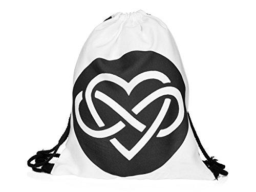 Sacca sportiva a tracolla per l'allenamento, ma non solo. Ultra leggero lifestyle viaggio borsa borsetta palestra zaino a spalla trend sport per uomini donne ragazzi ragazze bambini, Turnbeutel 1 RU-10-50:RU-33 weiß Infinite Love