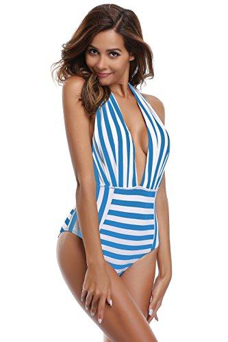 SHEKINI Damen Einteiliger Badeanzug Neckholder Monokini Schwimmanzug Bedruckter Halter Tiefer V-Ausschnitt Rückenfrei Hohe Taille Gepolstert Badeanzüge (Large, Blau-Weiß Streifen) - Weiß Blau Badeanzug