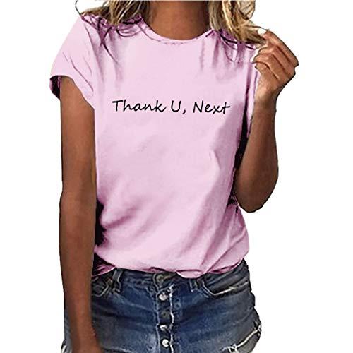 T-Shirt Mädchen Plus Size Print Shirt Kurzarm Bluse Tops(Pink1,XXXL) ()