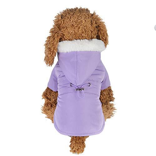 Amphia - Weihnachten Hundebekleidung,Japanische Pelzkragen Taille aus Baumwolle gepolsterte Hundekleidung - Mode Bequeme Haustier Kleidung Welpen Taille Daunenjacke Kaschmir Mantel ()