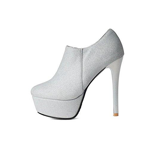 Voguezone009 Femmes Bout Rond Cheville Stiletto Talon Bottes Avec De La Soie Argent