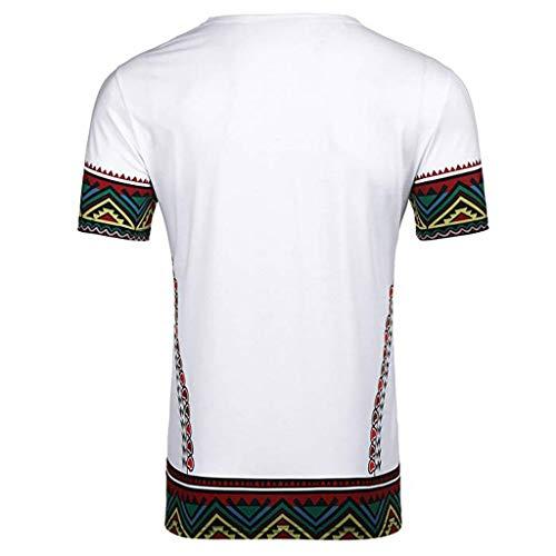 Celiy Herren-T-Shirt mit afrikanischem Druck, kurzärmelig, lässiges Hemd, Oberteil, Bluse Classic S weiß