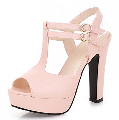 strap Aisun Pink Damen T Offene Plateau Sandalen Pumps Hoher Blockabsatz Sexy Schnalle wIBRUqrPHI