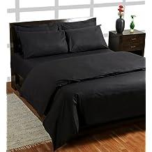 Homescapes Funda de almohada Estandar estilo-Housewife-50 x 75 cm de color Negro en 100% algodon egipcio densidad de 60 hilos/cm²
