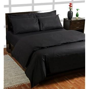 Homescapes Drap Housse de Luxe Spécial matelas Epais de couleur Noir pour 2 personnes de 180 x 200 cm en Pur coton d'Egypte (qualité percale 60 fils/cm²)