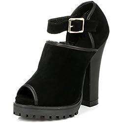 Shellys Damen Schwarz Acywen Platform High Heels-UK 5.5