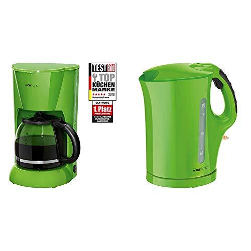 Clatronic KA 3473 Filterkaffeemaschine für 12-14 Tassen, Nachtropfsicherung, Warmhalteplatte, Wasserstandsanzeige, Grün & WK 3445 Wasserkocher, 1,7 L, 2 außenliegende Wasserstandsanzeigen