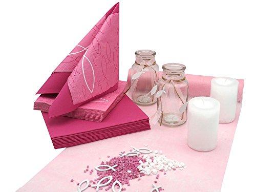 ZauberDeko Tischdeko Kommunion Konfirmation Pink Rosa Weiß Fisch Set 20 Personen