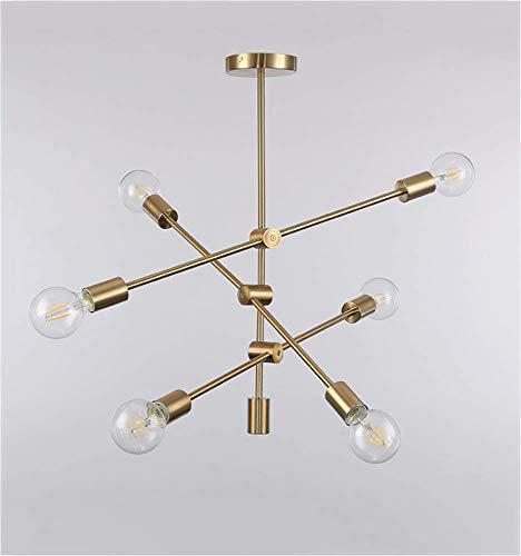 Hai Ying ♪ Moderne Kronleuchter Loft Sputnik Metall Pendelleuchte Leuchte G80 Sockel Industriezweig Hängelampe Unterputz Deckenbaldachin mit 6 Lichtern Iron Art Finish Leuchte Unterputz, Gold ♪ -