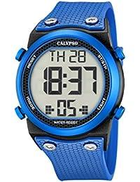 Calypso–Reloj digital unisex con LCD Pantalla Digital Esfera Azul y Correa de plástico K5705/4