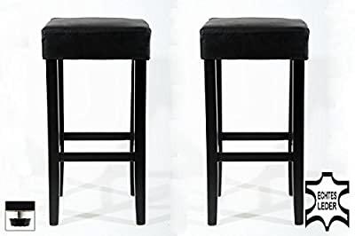 2x Barstools wood black REAL LEATHER adjustable floor glides upholstery produced by HeuSa GmbH - quick delivery from UK.