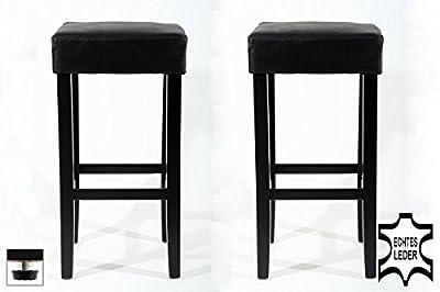 2x Barstools wood black REAL LEATHER adjustable floor glides upholstery - inexpensive UK light store.