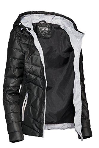 Trisens - Giacca leggera e corta da donna, per mezze stagioni, primaverile, giacca a vento Nero