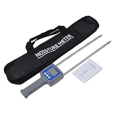 Kmise LCD Digital Wood Sawdust Powder Hay Bale Peat Moisture Meter Tester 0-80% Portable