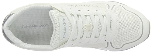 Calvin Klein Jeans Tori Reflex Nylon/Microfiber, Sneakers Basses Femme Blanc (White)