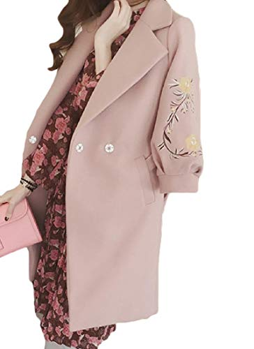 CuteRose Women Fall Winter Turn Down Collar Fit Belted Mid-Long Outwear Pink S - Knee Length Down Coat