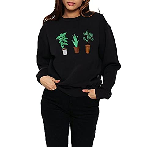 FriendG Women Autumn Winter Black Cotton Long Sleeve Green Plants Print Casual Sweatshirt Pullover Tops (S, Black)