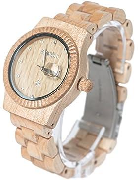 Bewell Damen-Ahorn-Holz-Armbanduhren Hohe Qualität Quarz Analog-Uhren