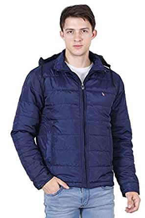 Forest Club Men's Nylon Slim-fit Light Weight Quilted Winter Jacket with Detachable Hood (Blue, Medium)