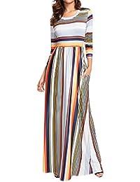 Mujer Vestido Casual Verano 2018,Sonnena Mujer elástico Cintura Rayas Vestido Largo 3/4