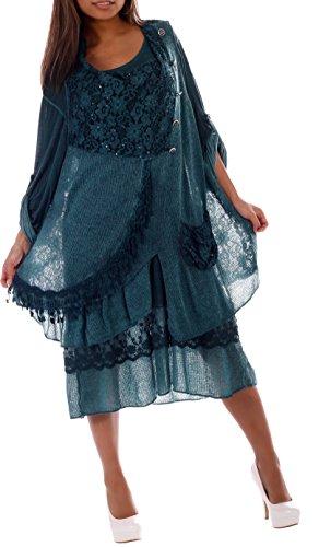 Damen Tunikakleid 2 teilig Langarm-Unterkleid, ärmelloses,asymmetrisches Überkleid mit glitzernden Pailletten und Zierknöpfen Flaschengrün