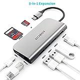 USB C Hub 8-in-1 Adattatore Hdmi Multiport Type C Hub con porta Ethernet da 1 Gbps, USB da 4K C a HDMI, lettore di schede SD/TF, porte USB 3.0, porta di ricarica da 100W per laptop Macbook Pro (A+)
