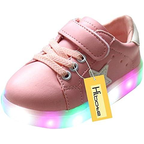 hibote Zapatos para niños pequeños Niños Niñas estrella brillante de luz rosado EU 30
