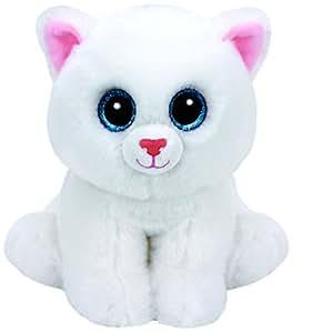 Carletto Ty 42130 - Pearl mit Glitzeraugen, Beanie Babies Katze, 15 cm, Weiß