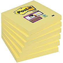 Post-it 6546SYP Haftnotiz Super Sticky Notes Promotion, 76 x 76 mm, 6 Blöcke, 90 Blatt, gelb