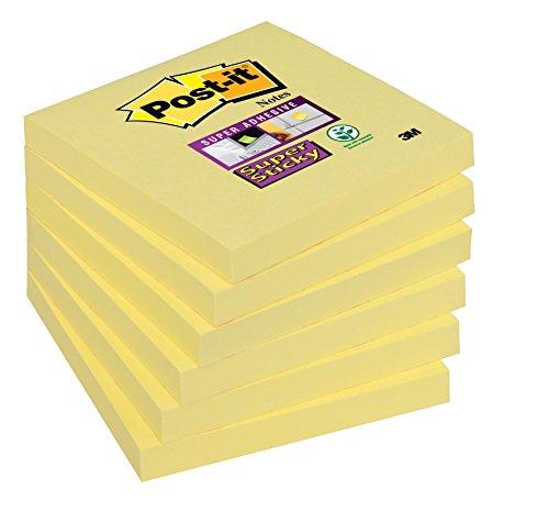 Post-it 6546SYP Haftnotiz Super Sticky Notes Promotion, 76 x 76 mm, 6 Blöcke, 90 Blatt, gelb -