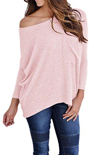 Une Épaule En Tunique Manches Femmes Décontracté Figure Pull T - Shirt Tee Haut De La Page pink