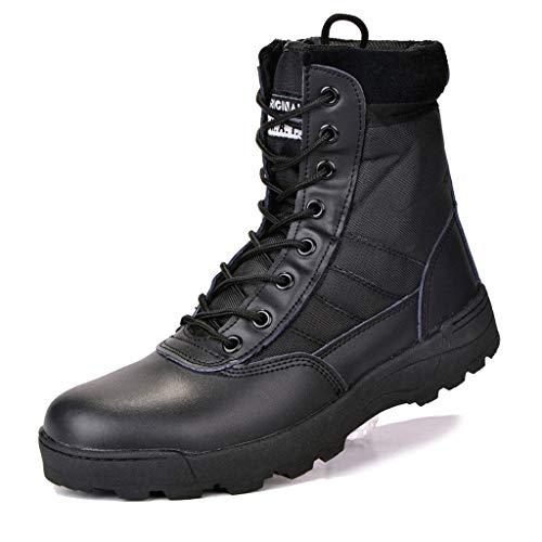 MAKAFJ Herren Wanderschuhe Military Tactical Combat Boots Damen Trekkingschuhe mit seitlichem Reißverschluss High Top Walking Climbing Sneakers,Black-42 -