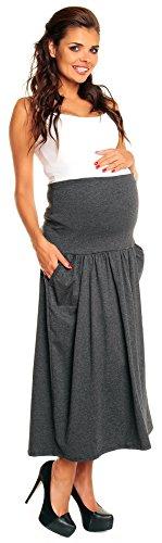 Zeta Ville Femmes Grossesse Coton Maxi Jupe Sur Bosse Panneau & Poches 014c Graphite