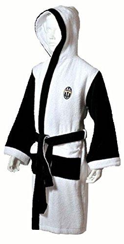 Uniontex, Bademantel Frottee Weiß und Schwarz Kinder mit Juventus Logo bestickt 6 Jahre BIANCO