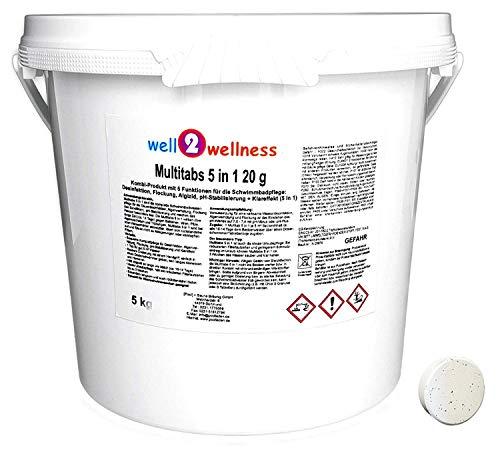 well2wellness Chlor Mini Multitabs 5 in 1 / kleine Multitabs 20g mit 5 Funktionen - 5,0 kg - Tabs Für Spa Chlor