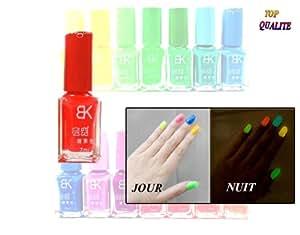 Vernis à ongles Rouge phosphorescent - brille la nuit - fluorescent UV