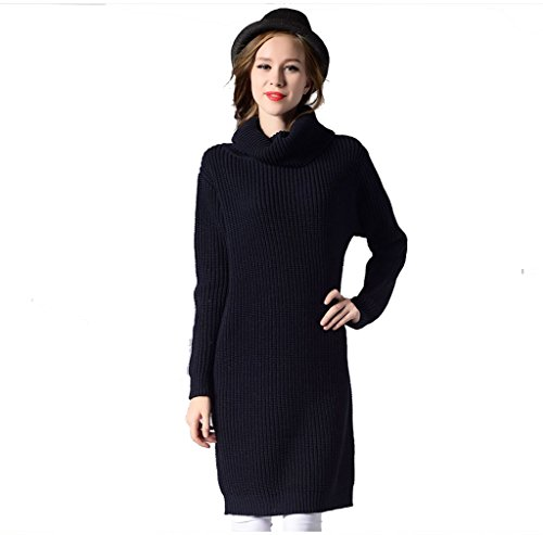 ZEARO Kleid Damen Rollkragen Strickleid Pullikleid Langarm Lose Pullover Kleid mit 8 Farbe Navyblau