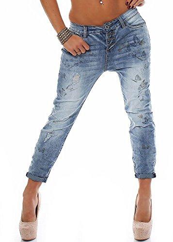 Stagger Angel Damen Boyfriend Jeans LRA-043 Schmetterling-Prints middle blue M